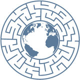 Planet Earth in Radial Maze World Puzzle Royalty Free Stock Photo