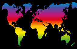 Planet Earth Rainbow Colored World Map. Rainbow colored world map on black background Royalty Free Stock Image