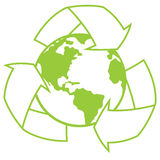 Planet Earth with Recycle Symbol. Vector illustration of planet Earth surrounded by a recycle symbol. Great icon for going green design royalty free illustration