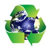 Planet Earth with Recycle Symbol Stock Images