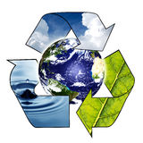 Planet Earth with Recycle Symbol Royalty Free Stock Image