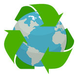 Planet Earth with Recycle Symbol Flat Icon. Planet Earth or globe flat icon with recycle symbol, isolated on white background. Eps file available Royalty Free Stock Photos
