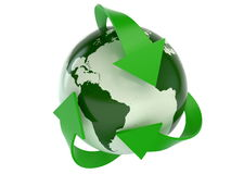 Planet earth and recycling arrows Royalty Free Stock Images