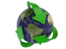 Planet earth and recycling arrows - satellite map Stock Images