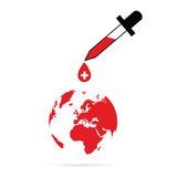 Planet earth with red cross vector Stock Photos