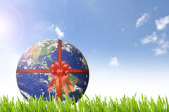 Planet Earth with red ribbon on beautiful green grass nd sunny d royalty free stock photography