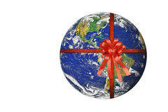 Planet Earth with red ribbon Stock Photo