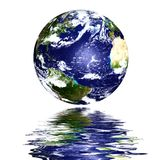 Planet earth reflected on top of water Stock Image