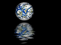 Planet Earth reflection. Computer generated planet Earth over black background reflected in water Stock Photography
