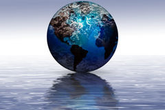 Planet Earth reflection. Global planet Earth on water horizon with reflection Stock Photo