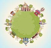 Planet earth with retro cartoon circus. vector illustration