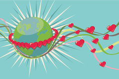 Planet Earth in ring of rad hearts.Vintage Royalty Free Stock Photo