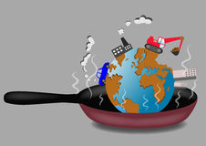 Planet Earth roasting on frying pan vector illustration. Ecological concept. Eps10 Royalty Free Stock Photos