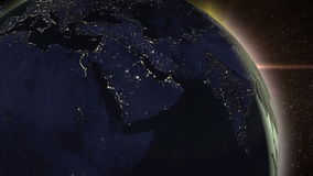 Planet Earth rotating animation in space stock footage