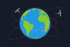 Planet earth and satellite orbits vector illustration. Space satellites flying around the earth graphic design Stock Photo