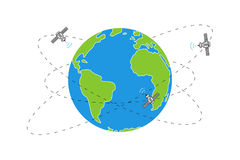 Planet earth and satellite orbits vector illustration. On white background. Space satellites flying around the earth line art graphic design Stock Photos