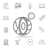 planet earth in section icon. Detailed set of science and learning outline icons. Premium quality graphic design. One of the colle stock illustration