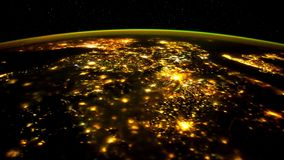 Planet Earth seen from the ISS. Space exploration of planet Earth at night. Elements of this video furnished by NASA. stock video footage