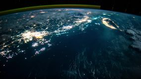 Planet Earth seen from the ISS. Space exploration of planet Earth at night. Elements of this video furnished by NASA. stock footage