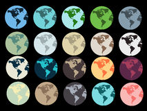 Planet Earth. Set of Earth globe icons . Vector illustration Stock Photos