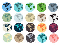 Planet Earth. Set of Earth globe icons . Vector illustration Royalty Free Stock Images