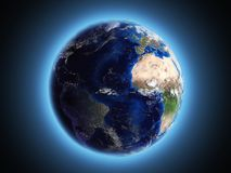 Planet Earth shines in space 3d render. Planet Earth shines in space 3d vector illustration