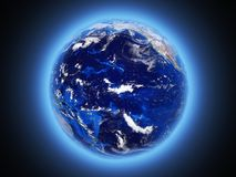 Planet Earth shines view from space 3d render. Planet Earth shines view from space vector illustration