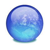 Planet earth on a shiny marble. A blue shiny orb or sphere with clouds, water and continents inside featuring planet earth. clipping path with the orb (without stock illustration