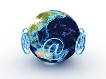 Planet earth with sign at around Royalty Free Stock Photo