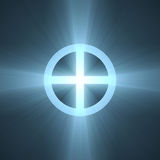 Planet Earth sign cross circle halo. A cross circle symbol with powerful light flares Royalty Free Stock Photography