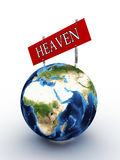 Planet earth with a sign heaven Stock Photography