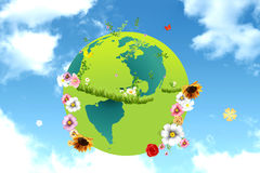 Planet earth in sky Royalty Free Stock Image