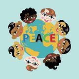 Planet earth with smiling baby born faces. Planet earth and smiling baby born faces of different Nations.Inscription Peace in five colors.A symbol of peace and Stock Photo