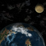 Planet Earth in space. Illustration. Planet Earth in space, on a background dark sky, natural companion Luna moves around Stock Photography