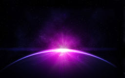 Planet earth in space. Planet earth with shiny sunrise in black space Royalty Free Stock Image