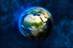 Planet Earth in space. Africa, part of Europe and Asia. Royalty Free Stock Photo