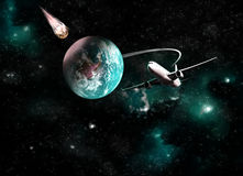 Planet earth on space background. Asteroid bump the planet earth.Elements of this image furnished by NASA stock illustration