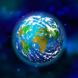 Planet earth on space background. Vector illustration Stock Photography