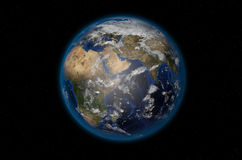 Planet Earth in space. 3D render of realistic planet Earth in space vector illustration