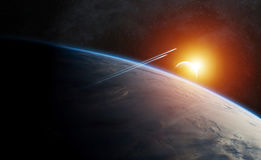 Planet Earth in space 3D rendering elements of this image furnis. View of the planet Earth from space during a sunrise 3D rendering elements of this image Stock Image