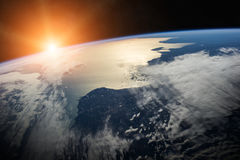 Planet Earth in space 3D rendering elements of this image furnis. View of the planet Earth from space during a sunrise 3D rendering elements of this image Stock Photography