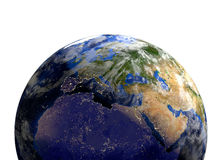 Planet earth in space.Europe, Africa, Asia. Stock Image