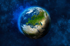 Planet Earth in space. Europe, part of Africa and Asia. Royalty Free Stock Photography