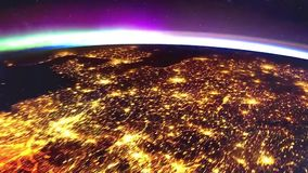 Planet earth from the space at night animation. the flight from space to earth amination. Planet earth at night