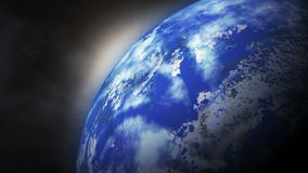 Planet earth in space rotates around sun. stock footage