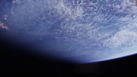 Earth seen from satellite. Planet Earth from space. Satellite`s POV. Sky, clouds and water stock video footage