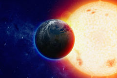 Planet Earth in space. Scientific background -  planet Earth in space, bright glowing sun. Elements of this image furnished by NASA visibleearth.nasa.gov Royalty Free Stock Photo