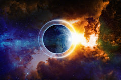 Planet Earth in space. Scientific background - planet Earth is surrounded by protective shield in space, save planet, save world, end of world, red nebula in Stock Photos