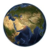 Planet Earth from space showing Arabian peninsula, India, China, Africa and Europe Stock Images