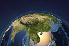 Planet Earth from space showing Asia Stock Photography